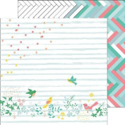 Pinkfresh Studio PFRC100116H 25 Sheet Confetti Garden Felicity Double-Sided Cardstock, 30cm by 30cm , Multicolor