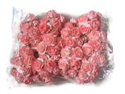 Agility 100 pcs. Red Pink Artificial Mulberry Paper Rose Flower Wedding Scrapbook 1.5cm DIY Craft Scrapbook Scrapbooking Bouquet Craft Stem Handmade Rose Valentines Anniversary Embellishment
