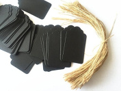 100pcs Black Paper Gift Tags with Free 100 Root Natural Jute Twine