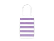 12CT SMALL LAVENDER STRIPE BIODEGRADABLE, FOOD SAFE INK & PAPER KRAFT BAG WITH WHITE STURDY HANDLE