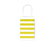 12CT SMALL YELLOW STRIPE BIODEGRADABLE, FOOD SAFE INK & PAPER KRAFT BAG WITH WHITE STURDY HANDLE