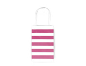 12CT SMALL HOT PINK STRIPE BIODEGRADABLE, FOOD SAFE INK & PAPER KRAFT BAG WITH WHITE STURDY HANDLE