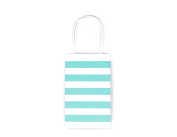 12CT SMALL MINT STRIPE BIODEGRADABLE, FOOD SAFE INK & PAPER KRAFT BAG WITH WHITE STURDY HANDLE