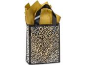 10 Medium Zebra Leopard Gold Spots Safari Frosted Plastic Bag 3 mil HD Plastic 8 x 10cm x 25cm Party Gift Bags
