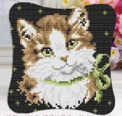 Sunny DIY Crochet Yarn Kits, 45cm ×45cm , Needlework Kit DIY Crocheting Rug Yarn Cushion Embroidery Set,Nice Cat