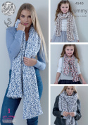 King Cole Knitting Pattern Ladies Lace or Mesh Shawls & Girls Scarves Yummy Chunky
