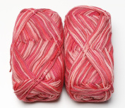 Happy Classy Cotton Cloud Fingering Weight Yarn - 50g/skein - 2 Skeins Total Colourful Berry 1st Quality Yarn