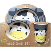 Nandog Pet Gear KBS-1005-GYC Cow Bamboo Fibre Kids Plate Set