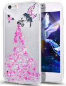 iPhone 6S Plus Case,iPhone 6 Plus Case,ikasus Crystal Clear Bling Glitter Sparkle Angel Girl Ultra Slim Flexible Frame Silicone Soft TPU Bumper Rubber Protective Case for iPhone 6S/6 Plus 5.5,Pink