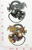 skull Chinese Dragon Temporary Waterproof Tattoo Art Body Stickers Removable Fashion Henna Tattoo Inspired Sticker Gifts by Magic movement
