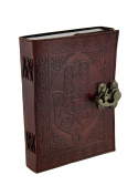 Hamsa Hand Brown Embossed Leather Bound Journal 13cm x 18cm .