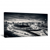 "Designart PT6935-80cm - 41cm Dark Shanghai City Cityscape Photography"" Canvas Print, Black, 80cm x 41cm"