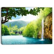 "Designart PT6940-100cm - 50cm Waterfall in deep Forest Landscape Photography"" Canvas Print, Blue, 100cm x 50cm"