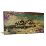 Designart PT6976-32-16 Vintage Style Sky Castle Contemporary Artwork, Blue, 80cm x 41cm