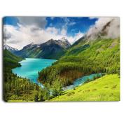 "Designart PT6926-100cm - 80cm Lake Amidst Lush Greenery Photography"" Canvas Print, Green, 100cm x 80cm"