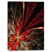 "Designart PT6756-50cm - 100cm Fractal Flower in Yellow and Red Floral"" Canvas Print, Red, 50cm x 100cm"