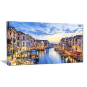 "Designart PT6889-100cm - 80cm Grand Canal Panorama Landscape Photo"" Canvas Print, Blue, 100cm x 80cm"