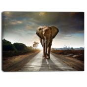 "Designart PT6999-100cm - 80cm single Walking Elephant Photography"" Canvas Print, Black, 100cm x 80cm"