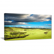 """Designart PT7002-100cm - 80cm Pasture Under Cloudy Sky Landscape Photo"""" Canvas Print, Green, 100cm x 80cm"""