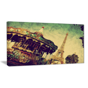 "Designart PT6701-100cm - 50cm Paris Eiffel Tower Retro Style Landscape"" Canvas Print, Brown, 100cm x 50cm"