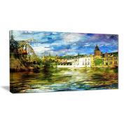 """Designart PT6894-100cm - 50cm Old Belgium Channel Landscape Photo"""" Canvas Print, Green, 100cm x 50cm"""