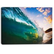 """Designart PT6989-100cm - 80cm Ocean Wave at Sunset Photography"""" Canvas Print, Blue, 100cm x 80cm"""