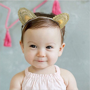 Skuleer(TM)Baby Knitted Cat Ear Gold Headband Princess Cartoon Cute Elastic Hair Bands Children Girls Head Wrape Infant Hair Accessories