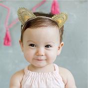 Skuleer(TM)Baby Knitted Cat Ear Gold Headband Princess Cartoon Cute Elastic Hair Bands Children Girls Head Wrape Infant Hair Accessories