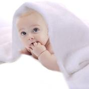 JISEN® Baby Newborn Photography Prop White Short-Haired Flannel Blanket