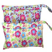 Abonnylv New Cute Travel Baby Wet and Dry Cloth Nappy Organiser Bag,2pcs