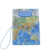 World Trip Map Identity Card Passport Holder Travel Journey Protect Cover Blue