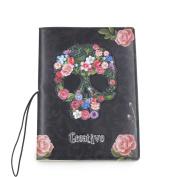 Rose Flower Skull PVC Identity Card Passport Holder Travel Journey Protect Cover