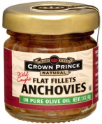Crown Prince Natural Flat Fillets of Anchovies in Pure Olive Oil, 45ml Jars