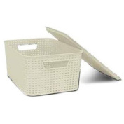 Homz Plastic Wicker Storage Boxes with Lid, Small, Cream