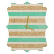 DENY Designs Allyson Johnson Glitter And Mint Quatrefoil Clock, Small