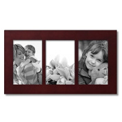 Adeco Home Decorative Walnut Colour Wood Wall Hanging 4x6 Photo Frame with 3 Divided Openings