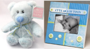 """Cute as a Button"" Picture Frame and Plush Bear"