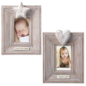 Mini Baby Photo Frames- Set of Two- Just Arrived With Star Accent and Little You with Heart Accent- Holds 3.8cm X 5.7cm Photos