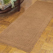 Warm Dylan Nylon Runner Rug Collection (0.3m2.7m x 1.5m), made from 100% Soft and durable Nylon, with Skid-resistant latex backing, Easy Care and Machine Washable in Dark Tan