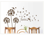 """May my love riding dandelion fly"" Romantic Flying Dandelion Wall Decal for Lovers Gift"