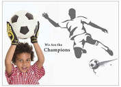 """We are the champions"" Man Shooting the Football Wall Decal Wall Sticker for Boys and Men Room Decoration"