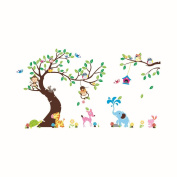 XXL 255cm*142cm Jungle Zoo Naughty Monkeys Elephant Giraffe Cute Owls Large Tree Wall Decal for Nursery Room Decoration
