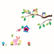Lovely Owl Playing on the Tree Brach with the Rabit Nursery Wall Decal