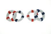 Bilipala 2pcs Resin Nautical Decorative Life Ring, Buoy Home Pool Party Decor, Red & Blue