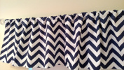 Navy Blue Chevron Valance Curtain, Baby Nursery window treatment. Blue and white stripes. 140cm wide