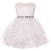 Baby Girls White Organza Taffeta Rhinestone Cascade Occasion Dress 6-24M