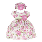 Baby Girls Lavender Jacquard Floral Printed Adorned Hat Easter Dress 6-24M