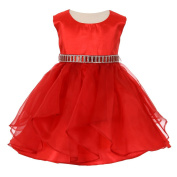 Baby Girls Red Organza Taffeta Rhinestone Cascade Occasion Dress 6-24M