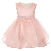 Baby Girls Blush Organza Taffeta Rhinestone Cascade Occasion Dress 6-24M
