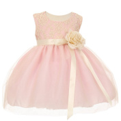 Baby Girls Pink Two Tone Lace Satin Ribbons Corsage Flower Girl Dress 6-24M